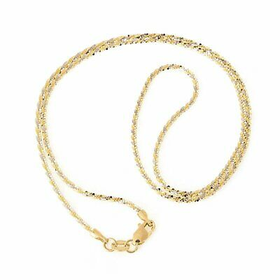 3ccd666e044349 1.50mm Twisted Rock Sparkle Chain Necklace Real Solid 14K Yellow White Gold
