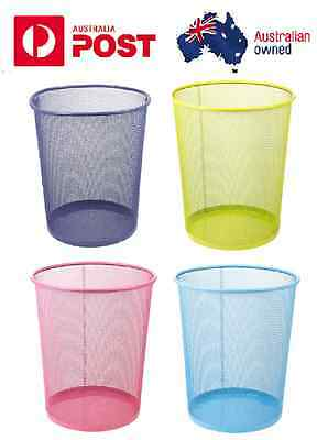 1 X Colourful Mesh Waste Paper Basket Office Metal Dustbin Rubbish Bins Trash