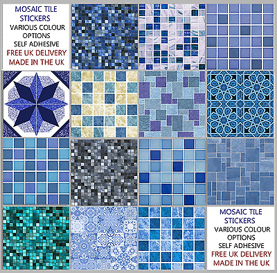 Blue Mosaic Tile Stickers Transfers Kitchen Bathroom 6 inch - Various Designs