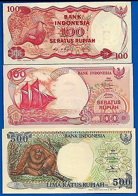 Indonesia P-122 P-127 P-128 Uncirculated Banknotes Set # 1