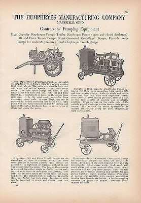 1927 Humphryes Manufacturing Co Mansfield OH Ad: Contractors' Pumping Equipment