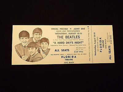 1964 The Beatles A Hard Days Night Vero Beach Movie Premiere Un-Used Full Ticket