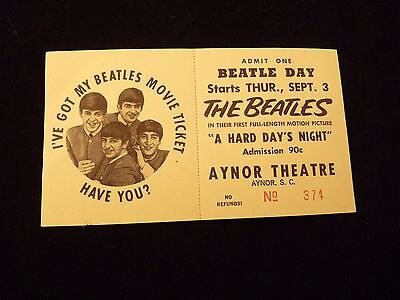 1964 The Beatles A Hard Days Night Aynor S.c. Movie Premiere Un-Used Full Ticket