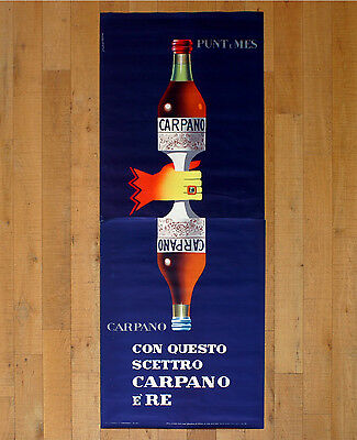 CARPANO PUNT E MES poster manifesto affiche Testa Vermouth Cocktail Alcohol '50