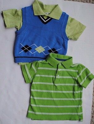 Lot of 2 Baby Boy Collared Green Blue Shirts Tops Vest Easter Size 24 Months