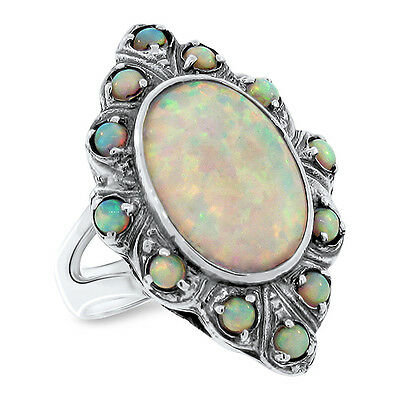 White Lab Opal Antique Victorian Design .925 Sterling Silver Ring,          #491