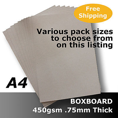 BoxBoard Backing Card ChipBoard 450gsm .75mm A4 Grey ReCycled Acid Free #B1208