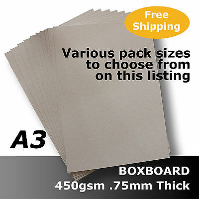BoxBoard Backing Card ChipBoard 450gsm .75mm A3 Grey 100% ReCycled #B1268
