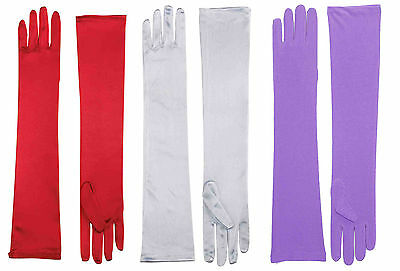 Womens Long Satin Opera Gloves Purple Red White Jessica Rabbit Dress Up