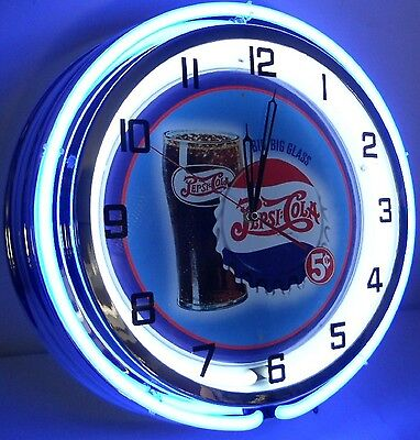 "18"" Vintage PEPSI Metal Sign Double Neon Wall Clock Bottle Big Glass 5 Cents"