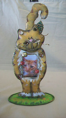 "WHIMSICAL METAL CAT PICTURE FRAME, HOLDS 1-3/8 x 2.5"" PICTURE"