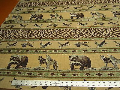Cabin Fever bear, wolf chenille mix upholstery fabric ft166