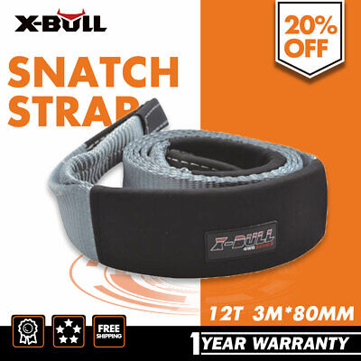 X-BULL 3M x 80mm 12TON Snatch Strap Winch Extension 4WD Recovery Tow Straps
