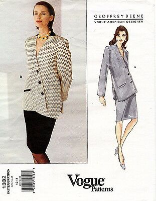 VOGUE Misses' Jacket & Skirt Geoffrey Beene Pattern 1332 12-14 UNCUT