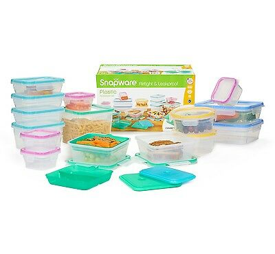 SNAPWARE 34 pcs Plastic Food Storage Containers BPA FREE AirTight Leakproof Set