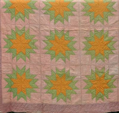 1870s VIVID INDIAN SPICE STARRY HEAVENS ANTIQUE VINTAGE QUILT - STUNNING DISPLAY