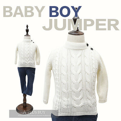 Brand New Cotton Knit Extra Soft Warm Infant Baby Boy Sweater Jumper White