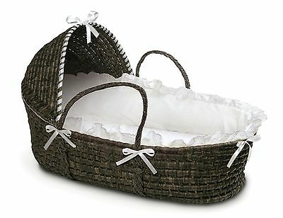 Badger Basket Espresso Moses Basket with Hood and White  New