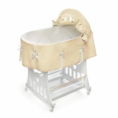 Badger Basket Ecru Waffle Pleated Bassinet Free Shipping New