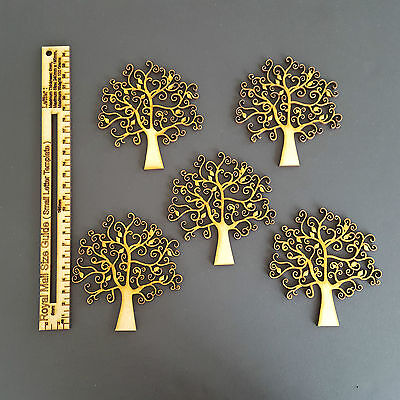 Pack of 5 Wooden MDF Autumn Tree Shape Craft Blank, Wedding, Decoupage Family