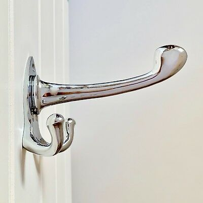 Large Chrome Art Nouveau Triple Or ⭐️⭐️⭐️⭐️⭐ Multi Coat Hooks