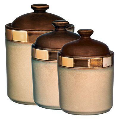 GIBSON CASA ESTEBANA 3 pc BROWN and BEIGE STONEWARE CANISTER SET DW MW SAFE