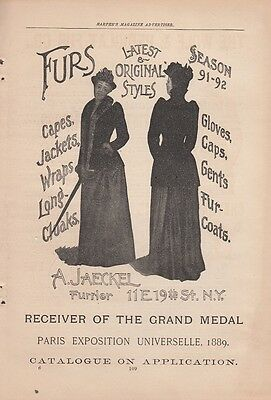 1891 A Jaeckel Furrier New York NY Ad: Furs Styles Capes Jackets Gloves Caps