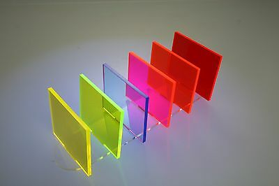 FLUORESCENT ACRYLIC PLASTIC PERSPEX 3mm SHEETS 100mm - 600mm
