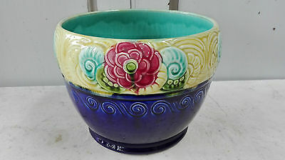 Cache Pot Barbotine Orchies France  Majolica