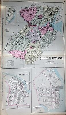 1905 Middlesex County Perth Amboy Montclair Bloomfield Twp New Jersey Atlas Map