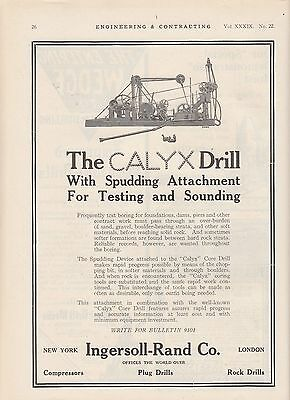 1913 Ingersoll-Rand Co New York NY Ad: Calyx Drill with Spudding Attachment