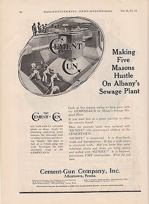 1917 Cement-Gun Co Allentown PA Ad: Five Masons Hustle on Albany NY Sewage Plant