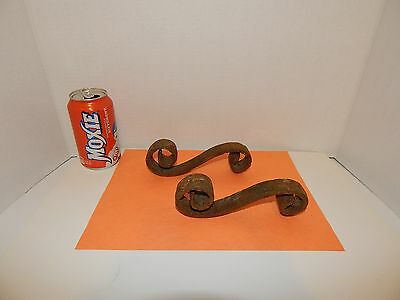 "Pr.(2) CAST IRON FANCY SCROLL DECORATION~1 SCREW EACH~6.5"" L~SHELF~BRACKET~PLANT"