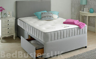 MEMORY FOAM GREY FABRIC DIVAN BED WITH MATTRESS & HEADBOARD 3FT 4FT6 Double 5FT