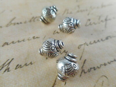 12 Silver Plated Round Lantern Beads Findings 48520p