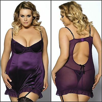 New Plus Size Women's Babydoll Grater Underwired Adjustable Lingerie Set