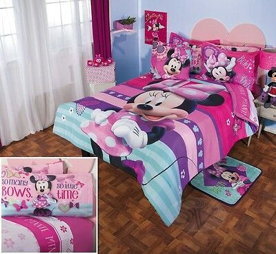 DISNEY Girls MINNIE MOUSE Pink Purple Comforter Double Sided Sheet Bedding Set