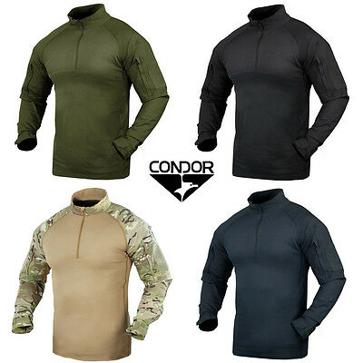 Condor 101065 Tactical Military Combat Shirt  YKK Zips Olive Black Tan Multicam