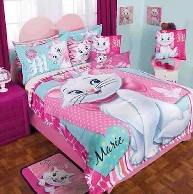 New Girls Bedding DISNEY PRETTY MARIE Softy Comforter Double Sided Sheet Set