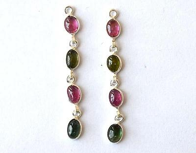 """SOLID 925 STERLING SILVER - PINK & GREEN TOURMALINE (for earrings) 1 3/4"""" #3385"""