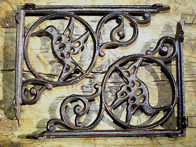 6 Cast Iron Antique Style HUMMINGBIRD Brackets, Garden Braces Shelf Bracket