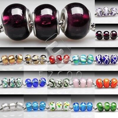 5pcs Murano Glass European Beads Lampwork Spacer Fit Charm Bracelets 14x10mm