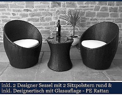 neu polyrattan gartensitzgruppe balkonset gartenm bel. Black Bedroom Furniture Sets. Home Design Ideas