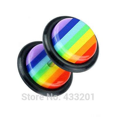 Unisex Gay Pride Rainbow Striped Cheater Earring 8mm - Brand New