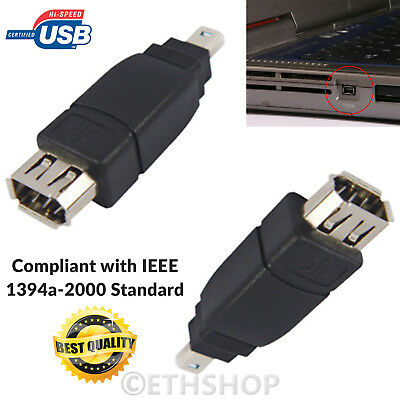 New Firewire IEEE 1394 6P Female to 4P Male Connector Converter Adapter UK