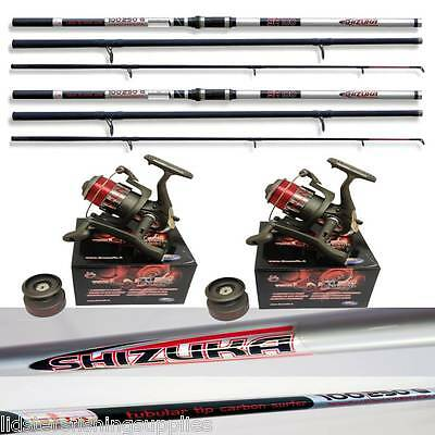 2 x Shizuka SH100 14FT Carbon Beachcaster Sea Fishing Rods 3pc + 2 LN70 Reels
