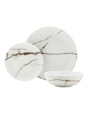 NEW Salt&Pepper Marble 12 Piece Dinner Set