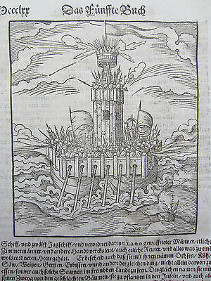 MÜNSTER/MUNSTER: Cosmographia Columbus Discovery America Cannibal  - 1592
