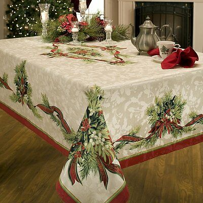 Benson Mills Christmas Ribbons Engineered Printed Fabric Tablecloth, Sale