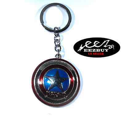 Marvel Comics Captain America Shield The Avengers Movie Pewter Key Chain Silver